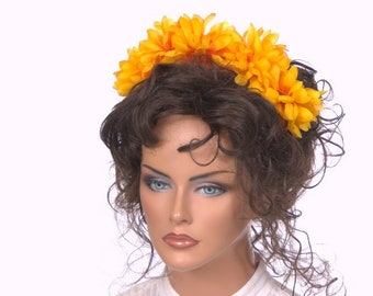 Large Gold Marigold Flower Headband Dia de la Muerte Day of the Dead Fascinator La Catrina