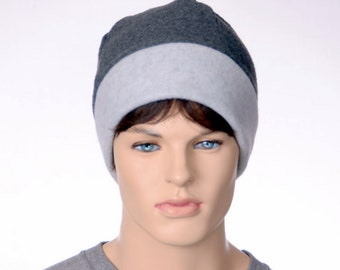 Mens Beanie Hat Gray Cap Warm Winter Fleece Hat Watchman Hat Two Tone Adult