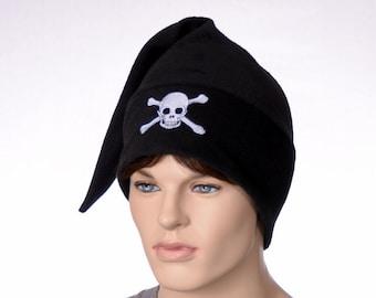 Pirate Hat Black Stocking Cap Skull and Crossbones Jolly Roger Fleece Unisex Hat Adult