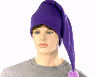 Purple elf hat with light purple pompom shoulder length stocking cap adult