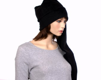 Extra Long Stocking Cap Black PomPom Goth Santa Hat Long Tail Hat Fleece Hygge