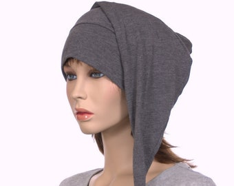 Dark Gray Night Cap Made of Cotton Jersey Knit Shoulder Length Pointed Hat