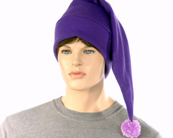 Purple elf hat with light purple pompom shoulder length stocking cap