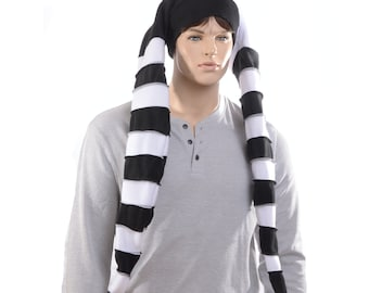 Custom Listing for Lorry Long Jester Hat White Black Stripes Made of Fleece Three Tail Point