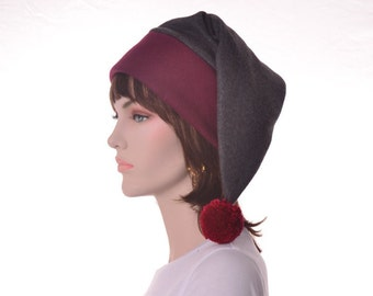 Victorian Stocking Cap Long Beanie Hat Burgundy Gray Elf Hat Man Women Hat