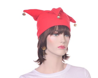 Jester Hat Three Pointed Red with Bells Halloween Costume Hat Unisex Adult