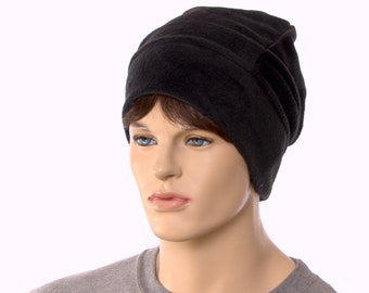 Black Slouchy Beanie Made of Fleece Watchman Cap Unisex Adult Men Women