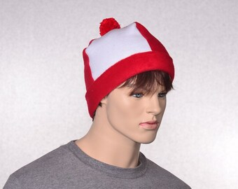 Red White Beanie Bobble Hat with Red Pompom Tweedle Dee Dum Cuffed Headband Adult Men Women Unisex Fleece