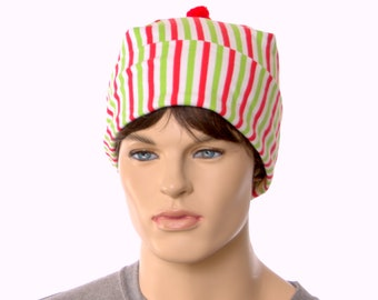 Nightcap Red Green White Striped Cotton Night Cap Adult Men Women Holiday Christmas