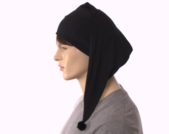 Night Cap Black Cotton Pointed Nightcap with Pompom Adult Men Women Poor Poet