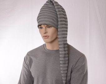 Long Stocking Cap Gray on Gray Striped PomPom Heavy Jersey Hat Long Tail Hat Adult Men Women