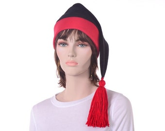 Black Red Stocking Cap Phrygian Liberty Hat with Tassel