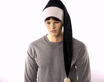 Black and White Sherpa Extra Long Tail Hat Stocking Cap Waist Length Adult Fleece Pointed Long Tail