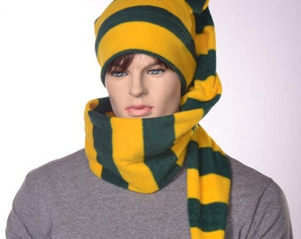 Green Gold Striped Long Stocking Cap Long Scarf Hat 5 ft Super Long Coil Team Spirit Hat Unisex Adult Men Women Balaclava Alternative Beanie