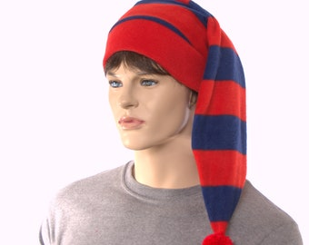 Red Blue Stripe Stocking Cap with Pompom Fleece Hat Stadium Long Tail Adult