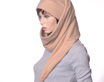 Extra Long Stocking Cap Camel Tan Wrap Around Scarf Hat 5  Tail Hat with Pompom Fleece