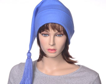 Sky Blue Stocking cap with Tassel Blue Elf Hat Fleece Hat with TasselLong