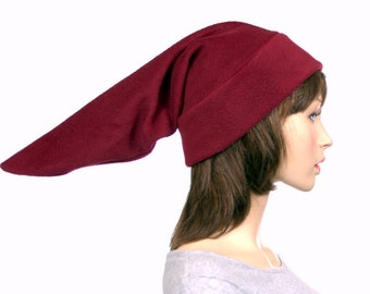 Burgundy Elf Hat  Stocking Cap Pointed Fleece Maroon Pointy Hat Pointed Beanie