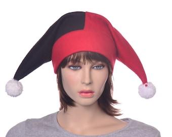 Red Black Short Harlequin Hat Two Tail Mardi Gras Carnival Costume Jester Cap White PomPoms Unisex Adult Men Women Hat Jack in the Box Hat