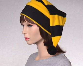 Stocking Cap and Gold  Striped Unisex Adult Mens Women Hat Fleece With Pompom