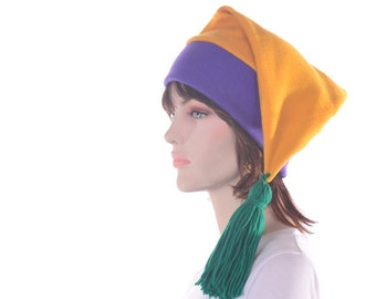 Mardi Gras Hat Stocking Cap in Purple Gold and Green Tassel