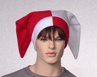 Red White Jester Hat Rear Pointing Tips Backward Patchwork Court Harlequin Cap Motley Fool Beanie