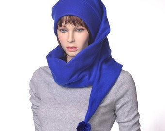 Stocking Cap Extra Long Royal Blue Wrap Around Scarf Hat 5  Tail Hat with Pompom Fleece