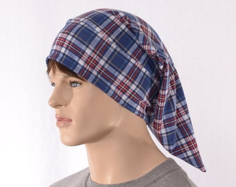 Night Cap Blue Red White Tan Plaid Pointed Nightcap Cotton Adult Men Women