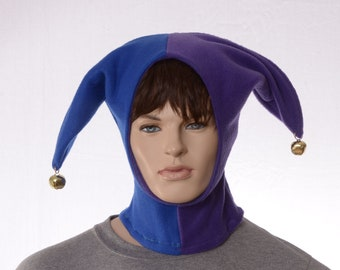 Jester Hood Purple Blue Hat Made of Fleece with Bells Two Pointed Hat
