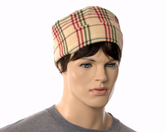 Smoking Cap Round Nightcap Made of Flannel Red Green Beige Plaid Cuffed