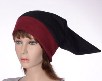 Burgundy and Black Elf Hat Pointed Dwarf Cap Long Beanie Stocking Cap Fleece Adult