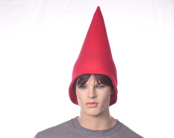 Red Gnome Hat Mid-Height Garden Gnome Cap Traveling Gnome Hat Red Pointed Hat Dwarf Holiday Elf Hat