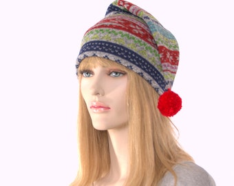 Stocking Cap Sweater Fleece with Pompom Gray Striped Hat