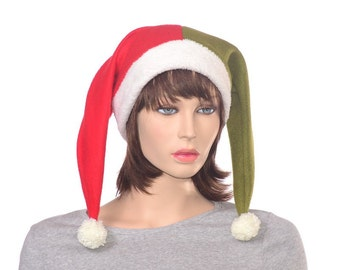 Elf Hat Two Tail Red Green Harlequin Jester Holiday Parade Cap Christmas Costume Hat 2 Pointed Santa Workshop Hat Adult Men Women Beanie