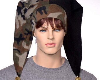 Mens Camouflage Jester Cap Pointed Harlequin Hat Camo Hunter With Bells
