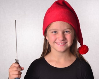 Smee Hat Child Size Pirate Hat Red Stocking Cap Red Pompom  20 inch Headband Small