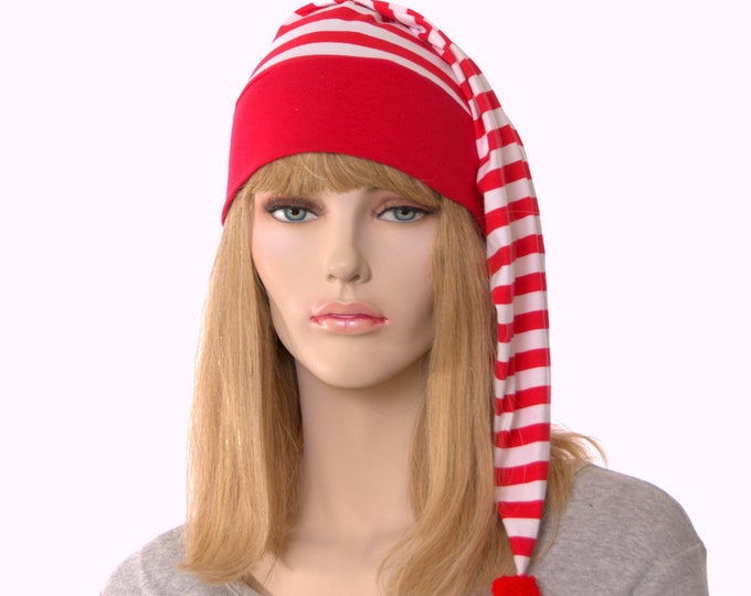 Featured listing image: Christmas NightCap Red and White Striped Night Cap Pompom Cotton Adult Men Women Holiday Pajamas Hat