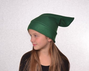 Dark Green  Elf Hat Childs Halloween Costume Stocking Cap Kids Pointed Hat