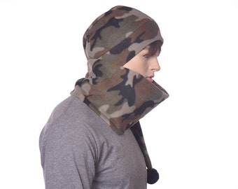 Long Stocking Cap Camo Hat Five Foot Fleece Scarf Hat