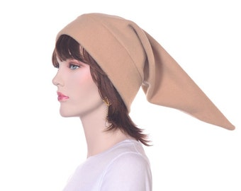 Elf Tail Hat Camel Tan Long Pointed Stocking Cap Adult Men Women Warm Winter Hat Long Fleece Beanie