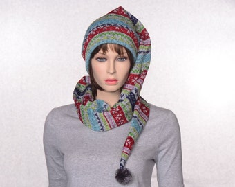 Long Stocking Cap Gray Striped Sewn Sweater Knit Scarf Hat 5 Foot Long Tail  Faire Isle Pompom 21d9e4ae7df