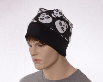 Skull Cap Nightcap Beanie Black White Lightweight Cotton Adult Men Women Chemo Cap Headcover