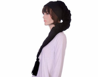 Goth Long Stocking Cap Black on Black Striped Extra Long Hat Gothic Midnight Nightmare Hat