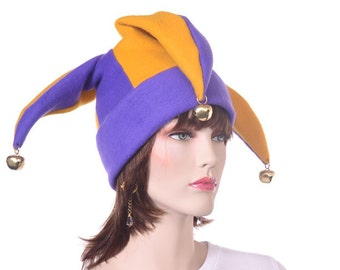 Jester Hat Three Pointed Cap Purple Gold Bells Adult Man Woman Fleece Beanie Harlequin