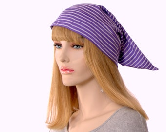 Short Pointed Nightcap Purple and White Striped Night Cap Unisex Adult