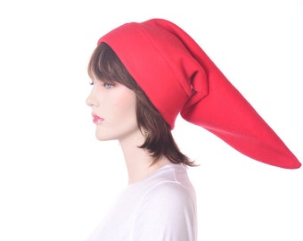 Long Red Elf Cap Fleece Hat Pointy Tip Mens Womens Halloween Costume