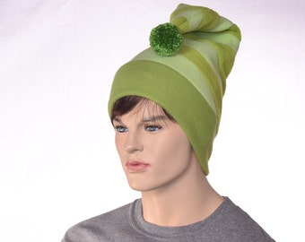 Striped Tail Hat in Three Green Stripes Patchwork Stocking Cap Fleece Pompom Hat Unisex Adult Men Womens