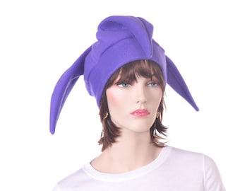 Purple Jester Hat Three Pointed Court Jester Cap Fleece Renaissance  Harlequin Beanie Clown Hat