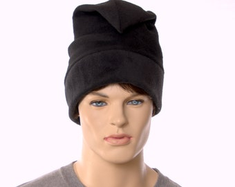 Black Phrygian Cap Made of Fleece Liberty Cap Pointed Beanie