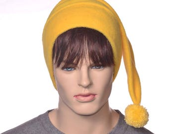 Elf Hat Bold Yellow Fleece Stocking Cap Hand Tied PomPom Pointed Beanie